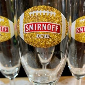Smirnoff Ice Gold Football Champagne Flute Glasses